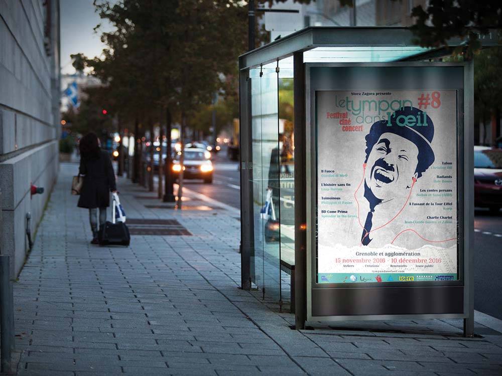 Affiche Tympan dans l'oeil sur un arrêt de bus - Diane Gaillard