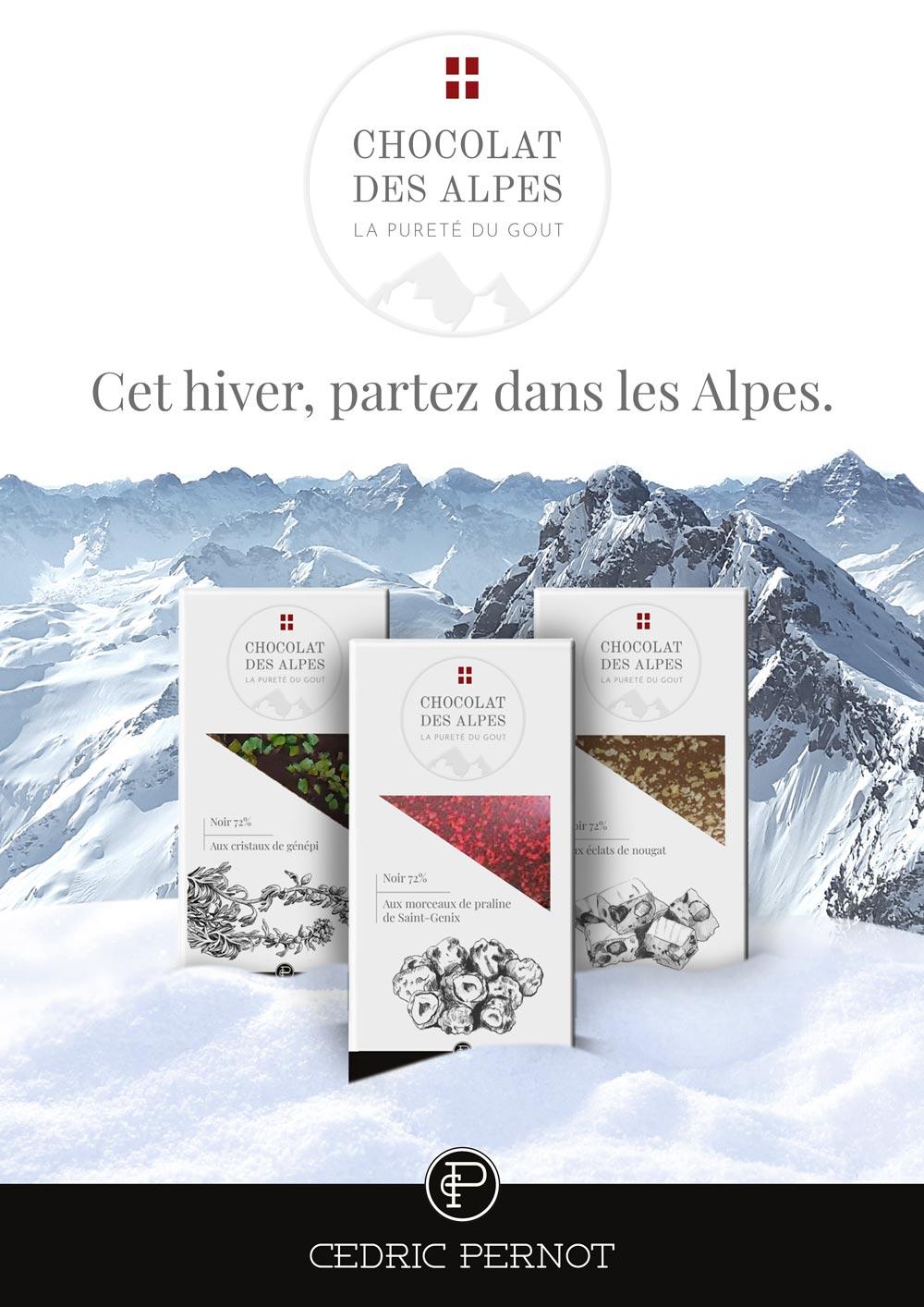 Affiche projet Chocolat des Alpes dirigé artistiquement par Diane Gaillard