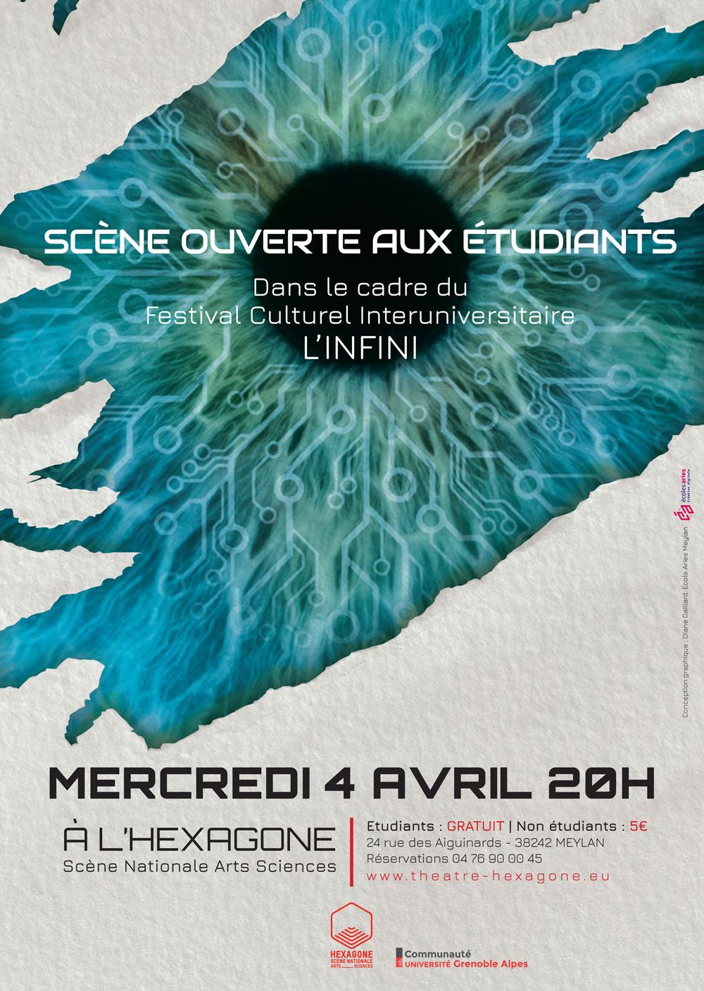 Affiche du festival L'infini édition 2018 festival culturel interuniversitaire salle de théâtre l'hexagone, projet mené par Diane Gaillard