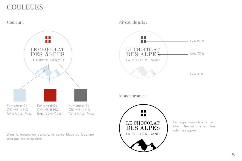 Couleurs logo Charte graphique du projet Chocolat des Alpes dirigé artistiquement par Diane Gaillard