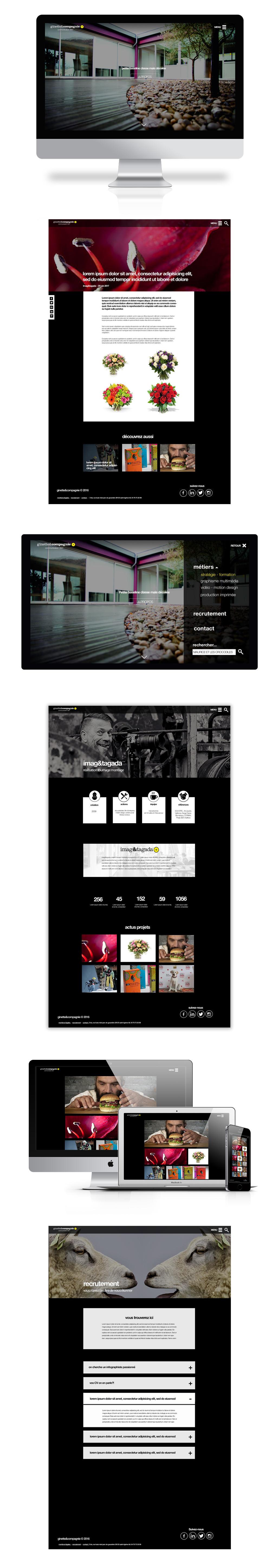 Présentation de la maquette du site pour l'agence ginette par Diane Gaillard