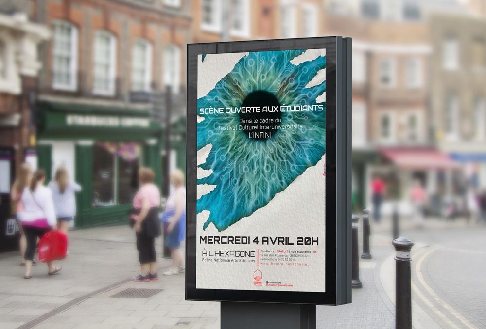 Affichage de l'affiche pour l'édition 2018 du festival culturel interuniversitaire Festival l'Infini Projet réalisé par Diane Gaillard