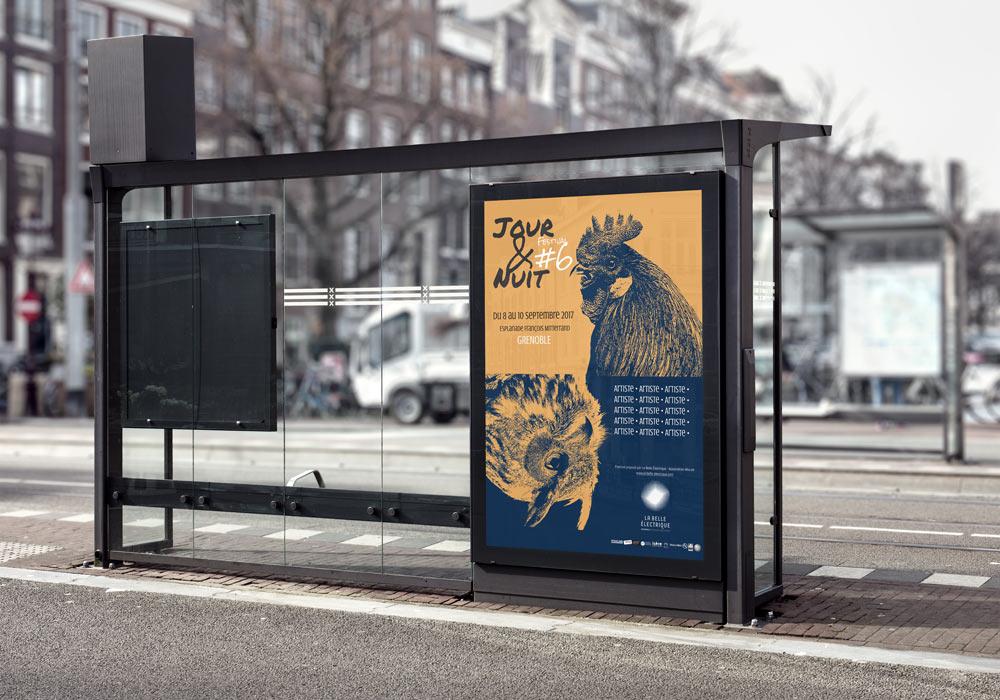 Mise en situation de la proposition d'affiche du festival Jour&Nuit, réalisée par Diane Gaillard