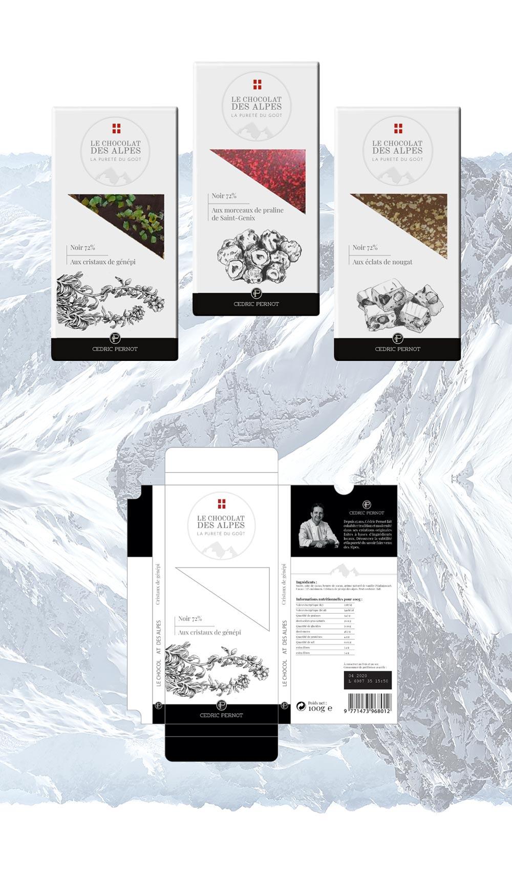 Tabletes projet Chocolat des Alpes dirigé artistiquement par Diane Gaillard
