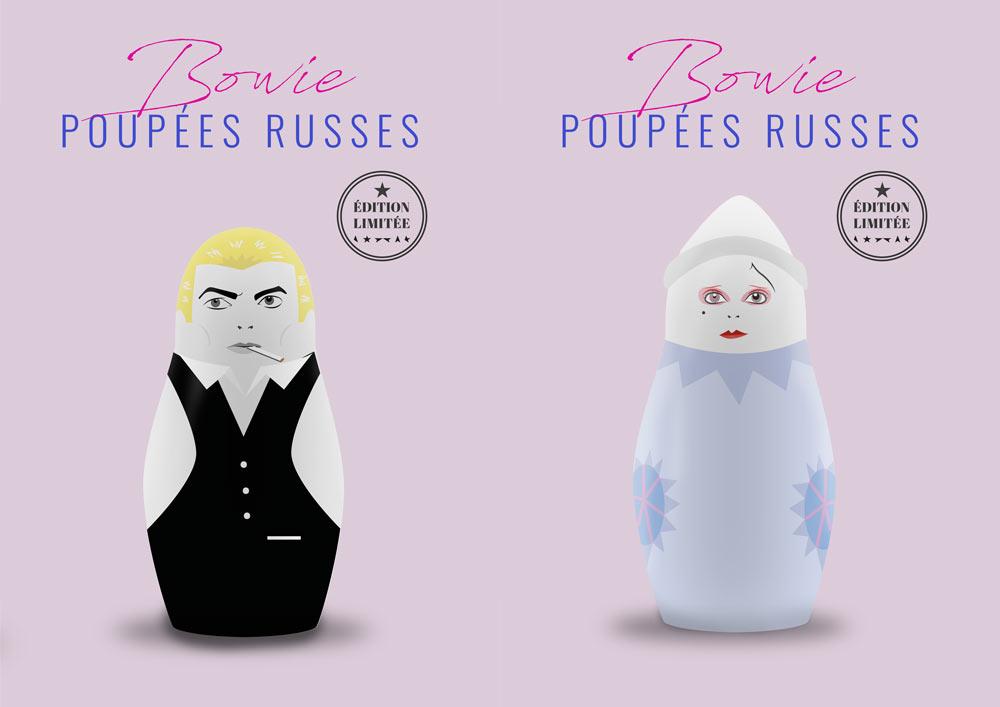The Thin White Duck et Pierrot, Poupées Russes à l'effigie de David Bowie - Diane Gaillard David Bowie