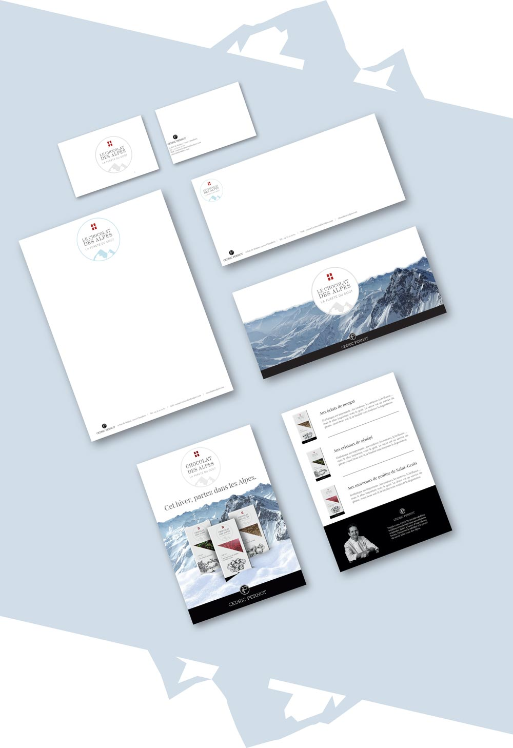 Pack de com projet Chocolat des Alpes dirigé artistiquement par Diane Gaillard