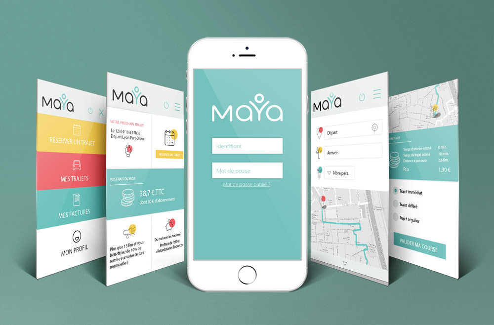 Design d'interface pour l'application Maya - graphiste Diane Gaillard