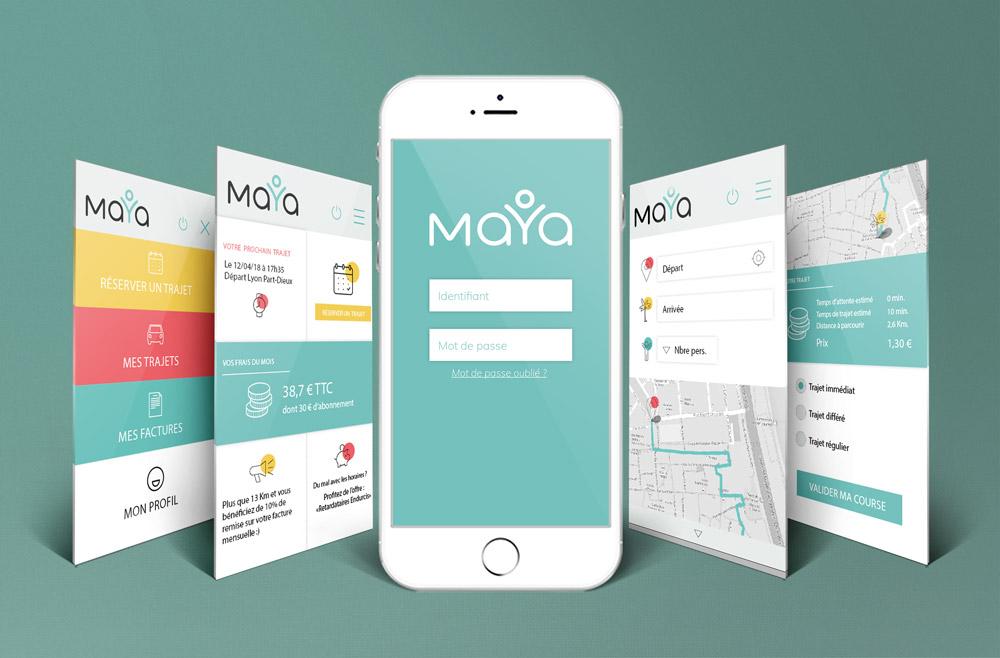 Design d'interface pour l'application Maya - graphiste Diane Gaillard