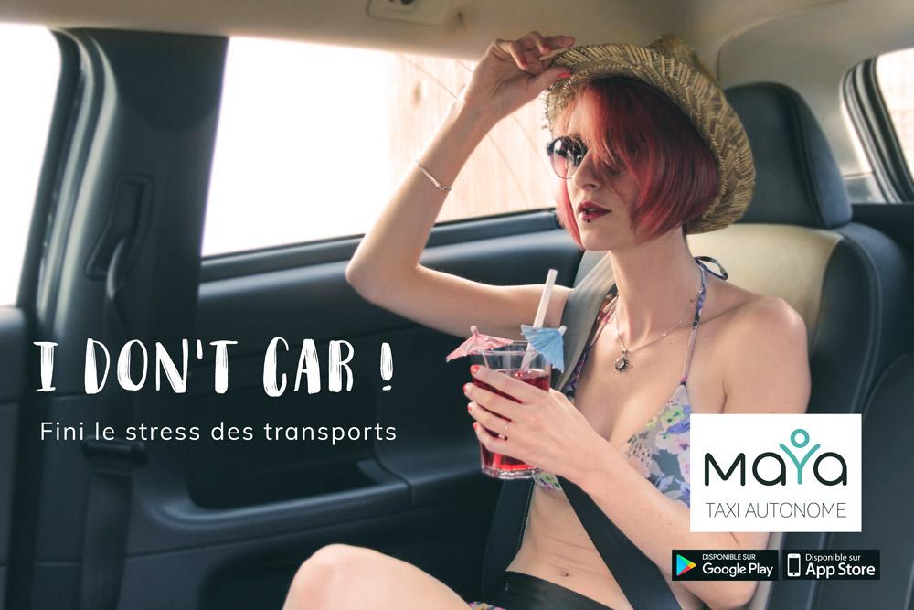 Affiche publicitaire pour les taxis autonomes Maya - graphiste Diane Gaillard