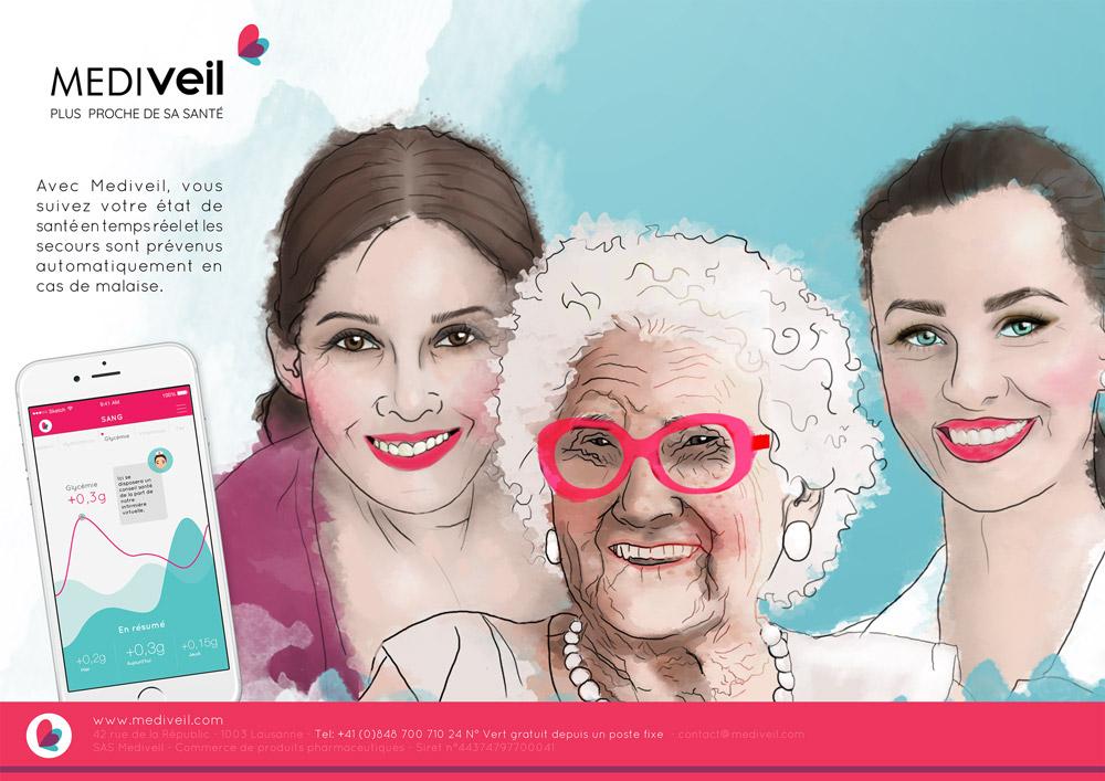 Affiche publicitaire Mediveil - Graphiste Diane Gaillard