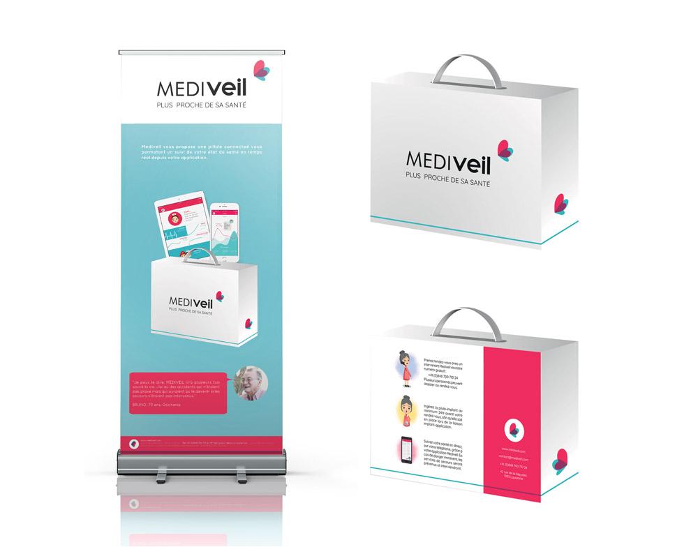Roll up kakemono et packaging Mediveil - Graphiste Gaillard Diane